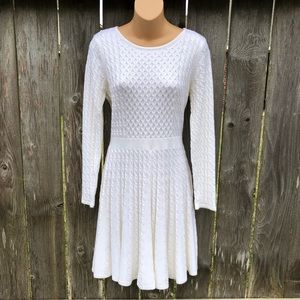 Ellen Tracy Ivory Cable Knit Sweater Dress NWOT